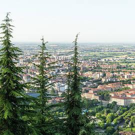 Splendid Bergamo Vista - Lower City Citta Bassa and Po River Plain from Above the Treetops by Georgia Mizuleva