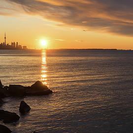 Splendid Morning - Toronto Skyline Sunrise with Rough Rocks by Georgia Mizuleva