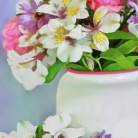 Spring Bouquet in White Vase by Regina Geoghan