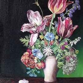 Spring bouquet with tulips and white mouse by Safir Rifas