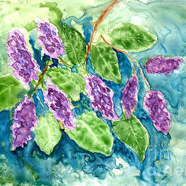 Spring Lilacs in Watercolor by Conni Schaftenaar