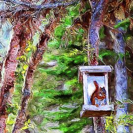 Squirrel intruder to the bird feeder by Tatiana Travelways