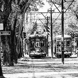 St. Charles and Audubon Streetcar - BW by Scott Pellegrin