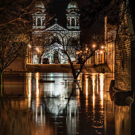 St Joseph Church Reflecting in the Spring Flood Waters by Kathryn by Photography By Phos3 Kathryn Parent and Dave Paddick