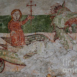 St Margaret spat out by Satanic dragon, medieval fresco, Piona Abbey, Lake Como, Lombardy, Italy by Terence Kerr