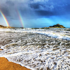 St Michael's Mount Cornwall Double Rainbow by Paul Thompson