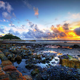 St Michael's Mount Dramatic Sunset Cornwall by Paul Thompson