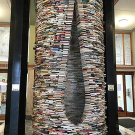 Stack of Books in the City Library, Prague, Czechia