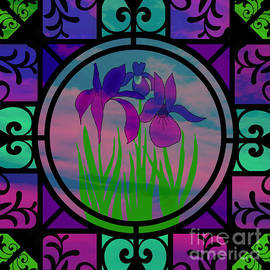Stained Glass Irises by Diamante Lavendar