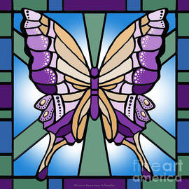 Stained Glass Purple Butterfly by Suzanne Schaefer