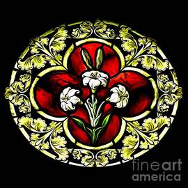 Stained Glass Saint Josephs Purity Lilies Expressionistic Abstract by Rose Santuci-Sofranko