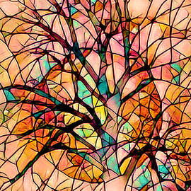 Stained Glass Tree in the Moon by Debra and Dave Vanderlaan
