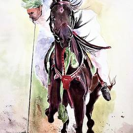 Stallion in green scarf. by Khalid Saeed