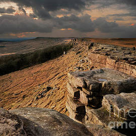 Stanage Edge stormy sky, Peak District, Derbyshire, England by Neale And Judith Clark