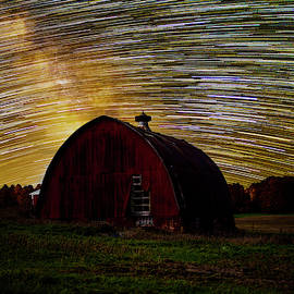 Star trails over red barn v2 by Dustin Goodspeed