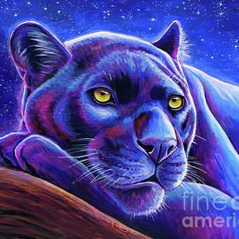 Stargazing - Colorful Black Leopard by Rebecca Wang