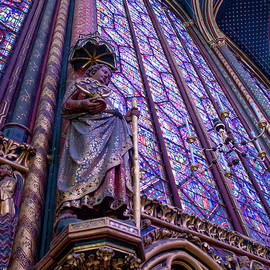 Statue and Stained Glass in Sainte Chapelle by John Twynam