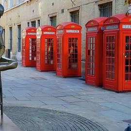 Statue of Dame Ninette de Valois and red telephone boxes, Royal Opera House, Covent Garden, London. by Joe Vella