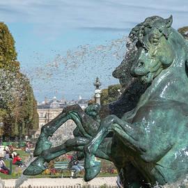 Statue of Horses Splashing in a Fountain in Paris, France by John Twynam