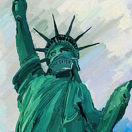 Statue of Liberty with mask Las Vegas by Tatiana Travelways