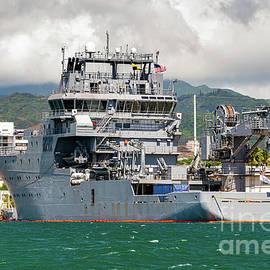 Stern View of A09 HMNZS A09 Manawanui Dive Ship by Phillip Espinasse