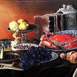 Still life with crab, grape, bread, lemon by Safir Rifas