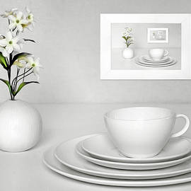 Still Life with Dishes and Flowers by Nikolyn McDonald