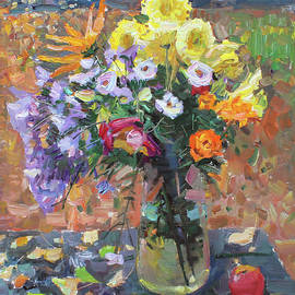 Still life with flowers and apples by Juliya Zhukova