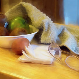 Still Life with Kiwi Egg Glasses andTowel by Lynda Lehmann