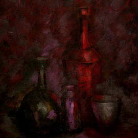 Still Life with Red Bottle by Jacob R
