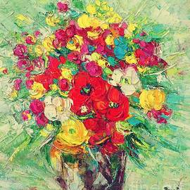 Still life with red flowers by Amalia Suruceanu