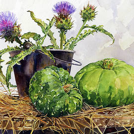 Still Life with Squashes and Thistles by Margaret Merry