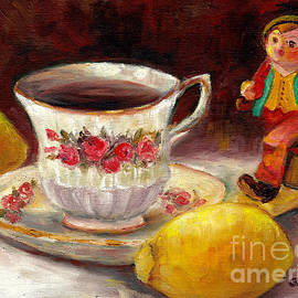 Still Life With Tea Cup And Lemons Hummel Figurine Merry Wanderer Original Painting Grace Venditti by Grace Venditti