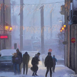 Stockholm Paintings - Winter Street by Omid Gohardani