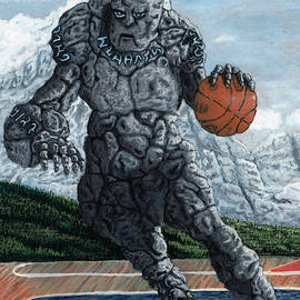 Stone Golem Playing Basketball by Ted Helms