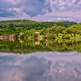 Stormy Day Reflections Panorama at Joshua Springs by Lynn Bauer