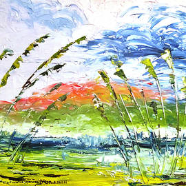 Stormy Sea Oats Blowing in the Wind by Catherine Ludwig Donleycott