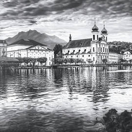 Stormy Skies Lucerne Switzerland Black and White  by Carol Japp