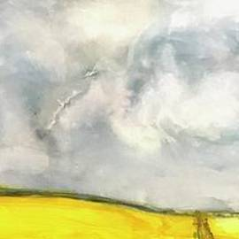 Stormy Sky, Yellow fields, of Hope, Abstract  by Patty Donoghue