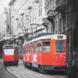 Streetcars of Milan Italy Selective Color by Carol Japp