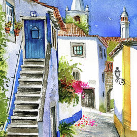 Streets of Obidos - Portugal by Dora Hathazi Mendes