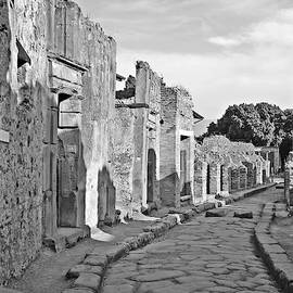 Streets of Pompeii Black and White by Marlin and Laura Hum