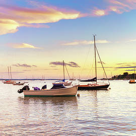Stunning Sunset with Wooden Boats by Marianne Campolongo