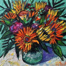 SUMMER COLORFUL BOUQUET palette knife oil painting Mona Edulesco by Mona Edulesco