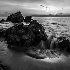 Summer Dawn at Marginal Way in Black and White by Kristen Wilkinson