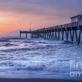 Sun Over Surf at Venice Fishing Pier, Florida  by Liesl Walsh