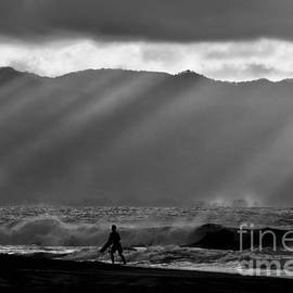Surfer in Sun Beams by Debra Banks