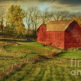 Sun Rays On An Autumn Barn by Janice Pariza