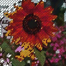 Sunflower Block Painting by Mario Carini