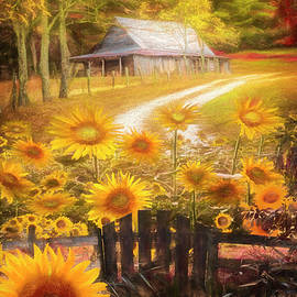 Sunflower Farm Barn Painting by Debra and Dave Vanderlaan
